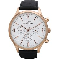 Hugo Schwarze Gents Cassius Chronograph Watch with Leather Buckle Strap 364435