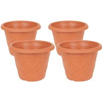 Set of 4 Tuscan style Planters 13inch (24cm) diameter 364608