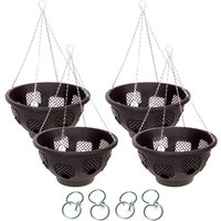 Set of 4 x 15inch 8-hole Easy Fill Baskets with 4 Easy Turn Hooks 368080