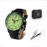 Vostok Europe Gents Anchar Chronograph Watch with Interchangeable Straps, Dry Box and FREE Multi tool 382729