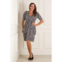 Nicole Print Wrap Front Drape Dress 409560