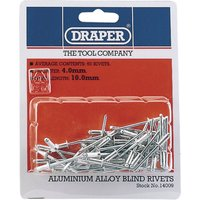 Draper Aluminium Pop Rivets 4mm 10mm Pack of 50