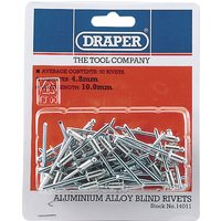 Draper Aluminium Pop Rivets 4.8mm 10mm Pack of 50