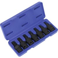 Sealey 7 Piece 1/2 Drive Impact Universal Joint Torx Socket Bit Set 1/2
