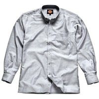 Dickies Mens Oxford Weave Long Sleeve Shirt Silver Grey 16