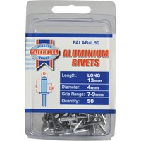 Faithfull Aluminium Pop Rivets 4mm 12mm Pack of 50