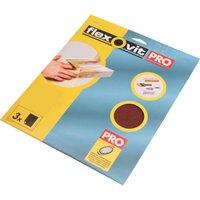 Flexovit Aluminium Oxide Sanding Sheets Medium Pack of 3
