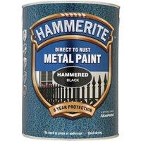 Hammerite Hammered Finish Metal Paint Black 5000ml