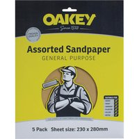 Oakey Glasspaper Sanding Sheets Assorted Grit Pack of 5