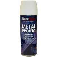 Plastikote Metal Protekt Aerosol Spray Paint Satin White 400ml