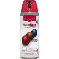 Plastikote Premium Satin Aerosol Spray Paint Real Red 400ml