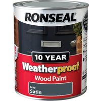 Ronseal Weatherproof 10 Year Exterior Satin Wood Paint Grey 750ml
