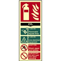 Scan CO2 Fire Extinguisher Sign 75mm 200mm Photoluminescent