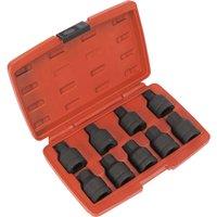 Sealey 9 Piece 3/4 Drive Impact Spline & Hexagon Socket Bit Set 3/4