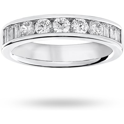 18 Carat White Gold 0.75 Carat Brilliant Cut and Baguette Channel Set Half Eternity Ring