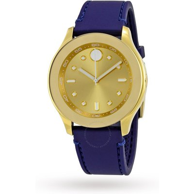 Movado Bold Gold-Tone Dial Blue Silicone Ladies Watch