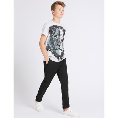 Cotton Trousers with Stretch (3-14 Years) black