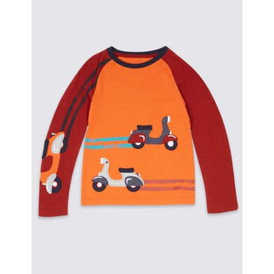 Pure Cotton Long Sleeve Top (3 Months - 5 Years) dark orange