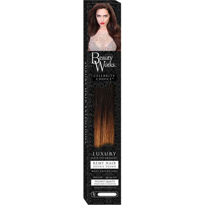 Beauty Works 22 Celebrity Choice - Weft Hair Extensions - NEW DIP DYE COLOUR- Brunette Ombre 4T27