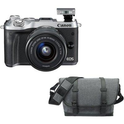 CANON EOS M6 Mirrorless Camera, 15-45 mm f/3.5-6.3 Lens & Bag Bundle