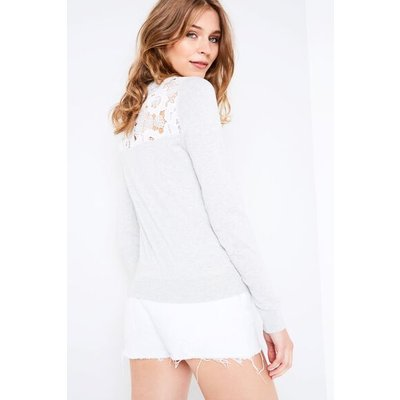 PARSLOW LACE SHOULDER WITH BACK DETAIL LT ASH MRL