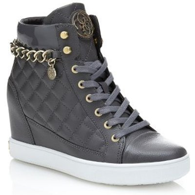 Guess Fur Leather Wedge Sneaker