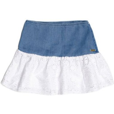 Guess Kids Cotton Denim And Lace Skirt