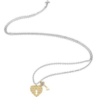 Guess Love Keys Necklace With Yellow Gold Plated Charms