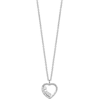 Guess Love Affair Rhodium-Plated Heart Necklace