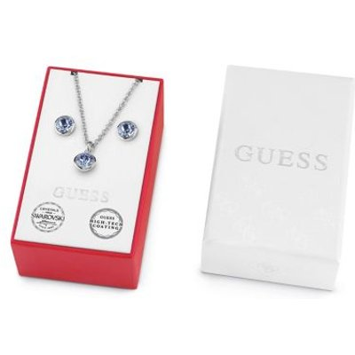 Guess Box Set With Sapphire Crystal Necklace And Earrings
