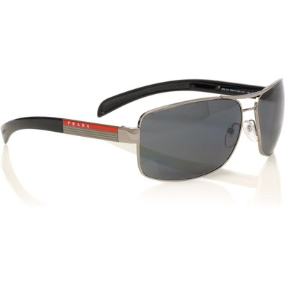 Prada Linea Rossa Mens PS54IS Gunmetal Aviator Sunglasses, Silver