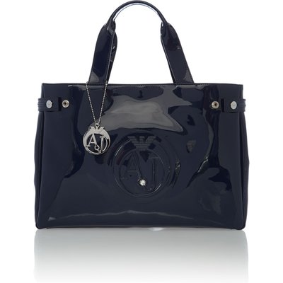 Armani Jeans Patent navy tote bag, Blue