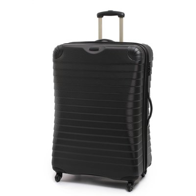 Linea Shell black 4 wheel hard large suitcase, Black