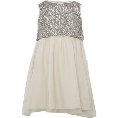 French Connection Girls Sleeveless Sequin Top Dress, Grey