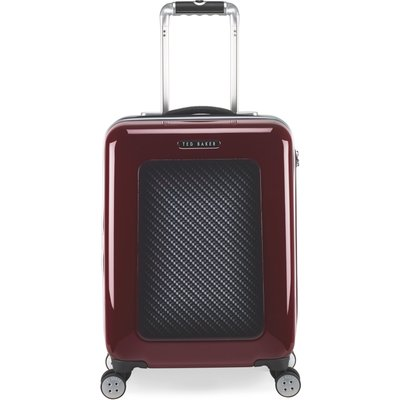 Ted Baker Herringbone burgundy 8 wheel cabin suitcase, Red