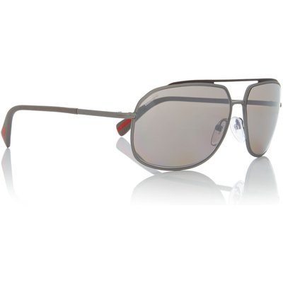 Prada Linea Rossa Gunmetal rectangle PS 56RS sunglasses, Silver