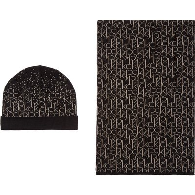 Calvin Klein Logo hat and scarf gift set, Black