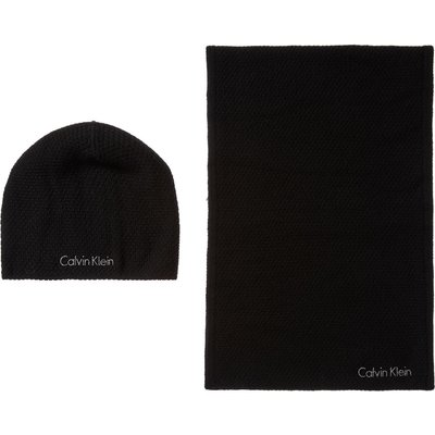 Calvin Klein Emma hat and scarf gift set, Black