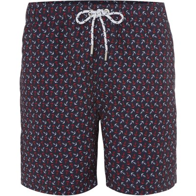 Men's Howick Two Colour Anchor Print Swim Shorts, Blue