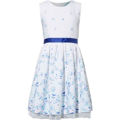 Little Dickins & Jones Girls Butterfly Print Dress, Off White