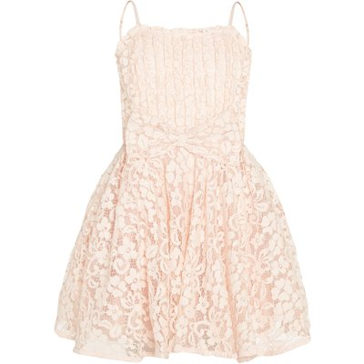 Bardot Junior Girls Starlet Lace Front Bow Dress, Pale Pink