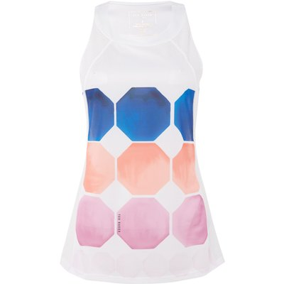 Ted Baker Marina mosaic racer back sports top, White