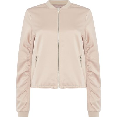 Lost Ink Long sleeve satin bomber, Pale Pink