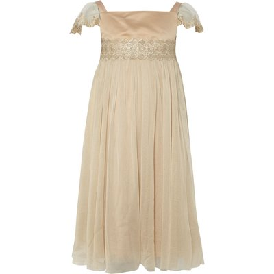 Disney The Boutique Collection Girls Belle Lace Smock Dress, Gold