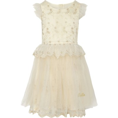 Disney The Boutique Collection Girls Belle Embroidered Dress, Gold