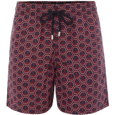 Men's Vilebrequin Moorea Anchor Of China Print Swim Shorts, Blue