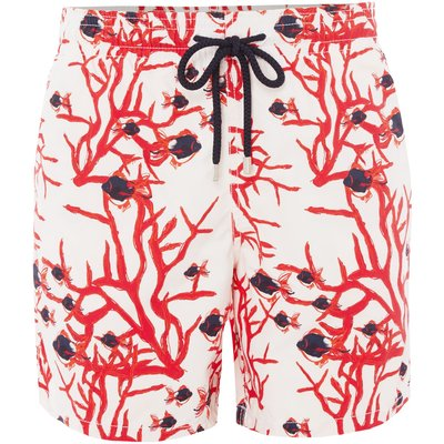 Men's Vilebrequin Moorea Coral and Fishes Print Shorts, White