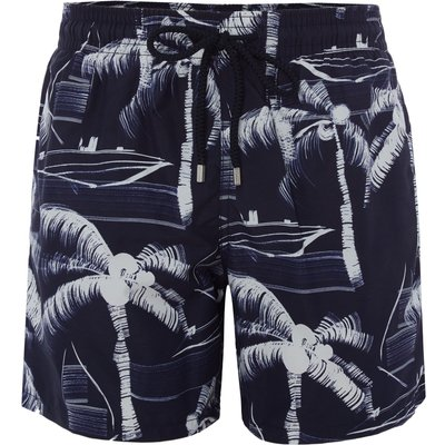 Men's Vilebrequin Moorea Palm Tree Print Swim Shorts, Blue