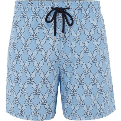 Men's Vilebrequin Diamond Seahorse Swim Shorts, Blue