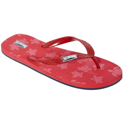 Men's Vilebrequin Turtle Print Flip Flops, Red